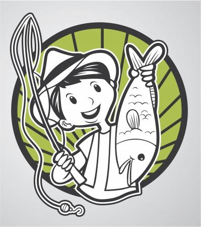 sea bass: man fishing Illustration