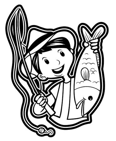 fisher man: man fishing Illustration