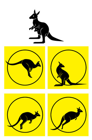 kangaroo: kangaroo Symbol Set Illustration