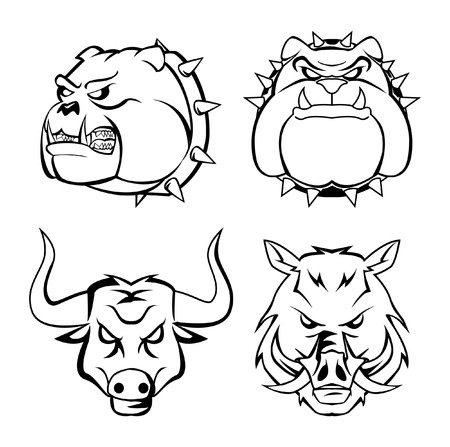 bull dog, wild boar   bull heads Vector
