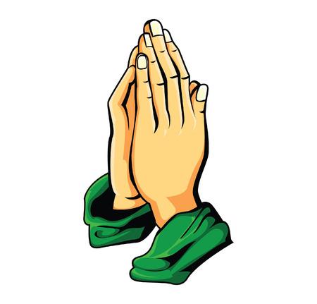 hombre orando: oraci�n mano Vectores