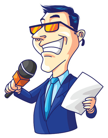 read news: Reporter Man Illustration