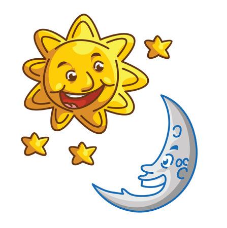 sun and moon Vector