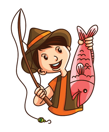 fisher: man fishing Illustration