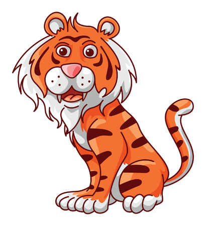 Tiger Funny Cartoon Vector