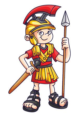 cascos romanos: Guerrero de la historieta Vectores