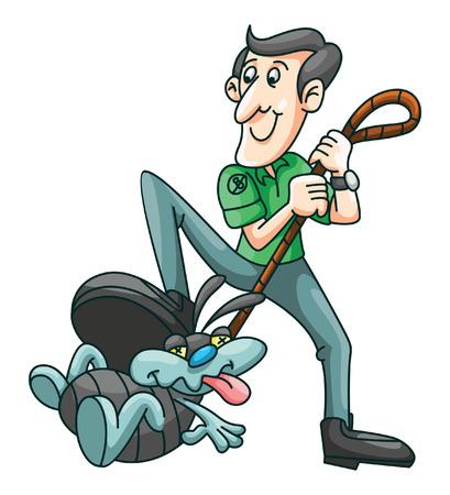 Insetto Hunter Cartoon Vettoriali