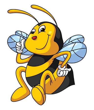 Bee Funny Cartoon Vector
