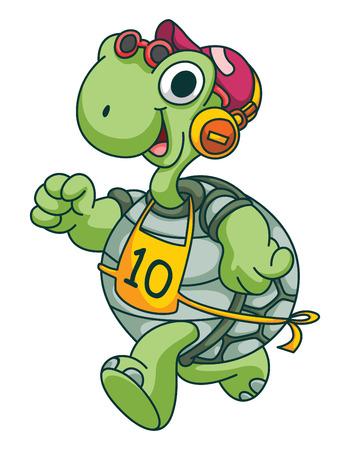 Sport Running Turtle Funny Cartoon Vector