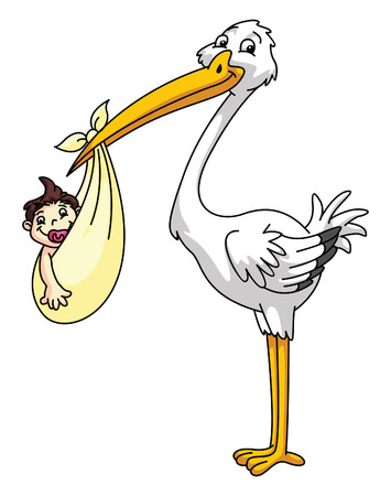 stork with new born baby Vector