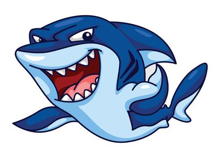 tiburon caricatura: Funny Cartoon Shark Vectores