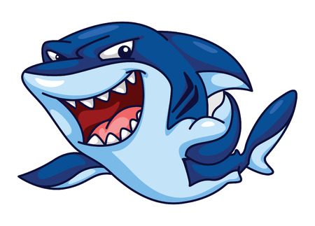 Shark Funny Cartoon Vector