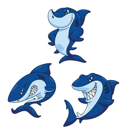 Shark Funny Cartoon Vector