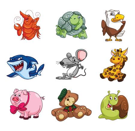 funny animal: Funny Animal Cartoon Collection Illustration