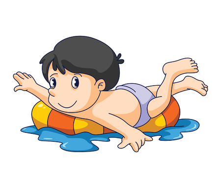 young boy in pool: kid swim