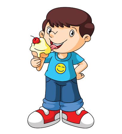 helados caricatura: Los niños comen un helado
