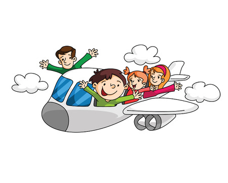 Holiday Travelling with Airplane Vector