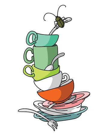 wash dishes: Platos sucios Vectores