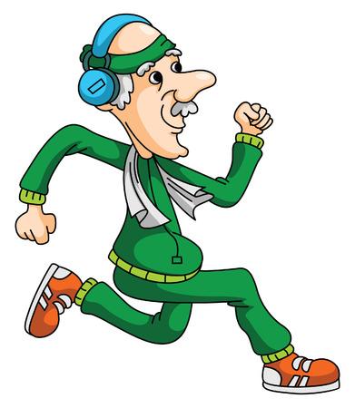 Old Man Jogging Ilustração