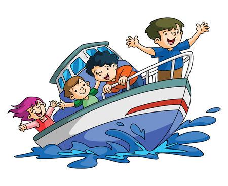 barco caricatura: Ni�os de vacaciones Barco