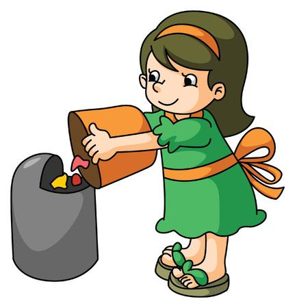 dustbin: Girl throw the trash