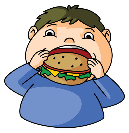 kid eat: Fat Boy eat burger