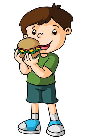 Boy eats burger Vector