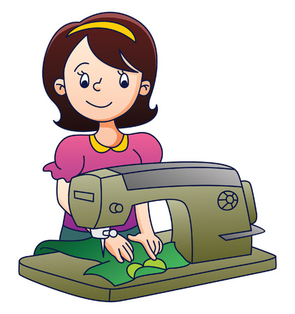 Mother with Sewing Machine