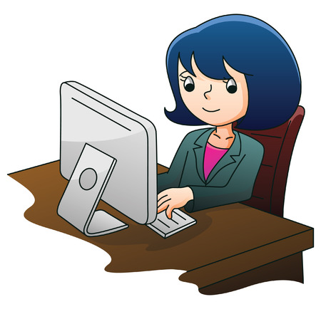 using tablet: Businesswoman with Computer Illustration