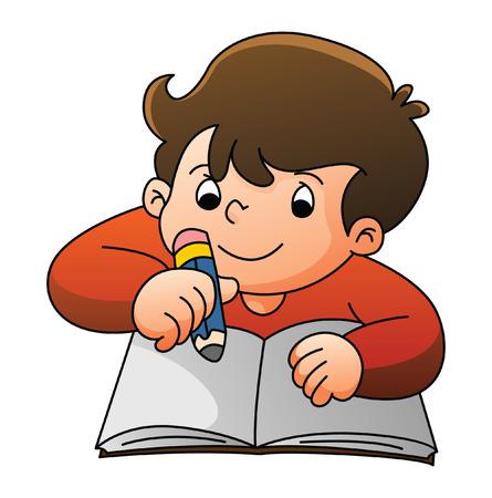 Jongen Leren Stock Illustratie