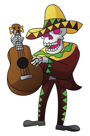 Mariachi Dead Day On Isolated White Vector