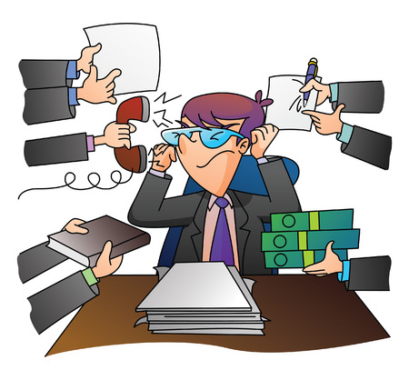 Multy Stress Businessman Vector