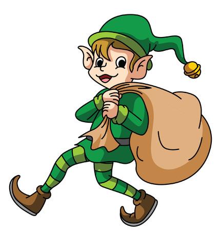 Elf Carying Saco De Regalo Foto de archivo - 32338145
