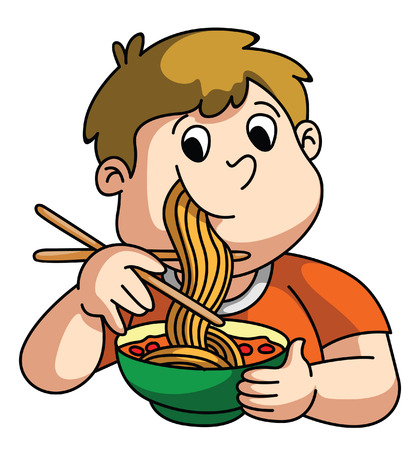 Boy Eating Noodle Vector