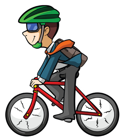 character of people: worker riding bike