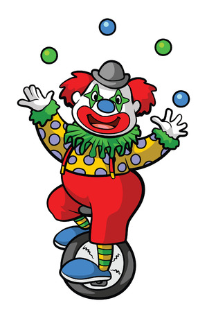 Clown Circus Playing Bicycle Vector