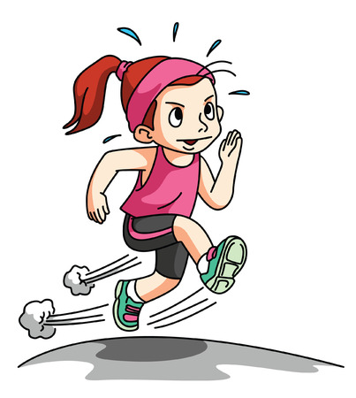 Girl Running Exercise isolated on white Vector
