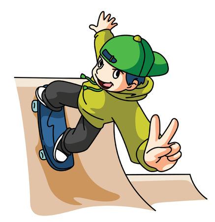 ni�o en patines: Skater aislado en blanco