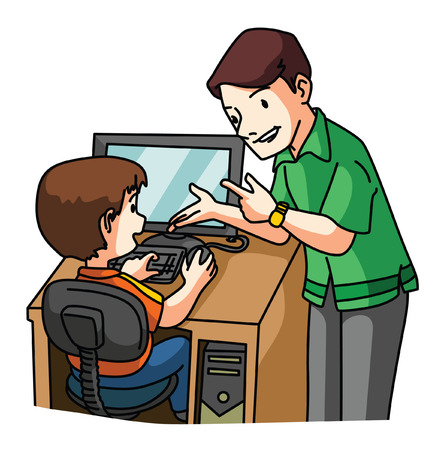 kid learning Computer Vector