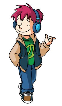 Boy Listening music Illustration