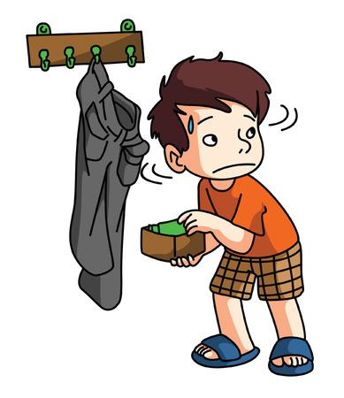 Boy Stealing money Vector
