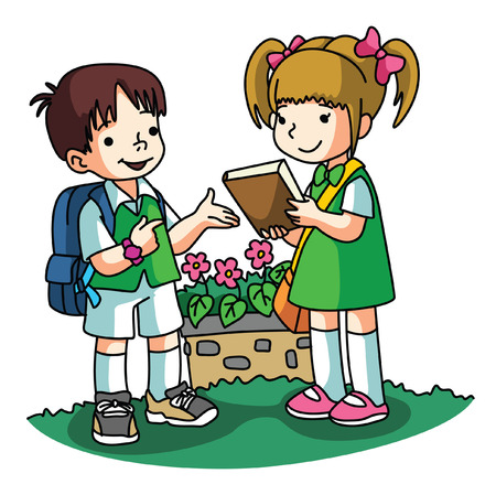 Borrowing books Иллюстрация
