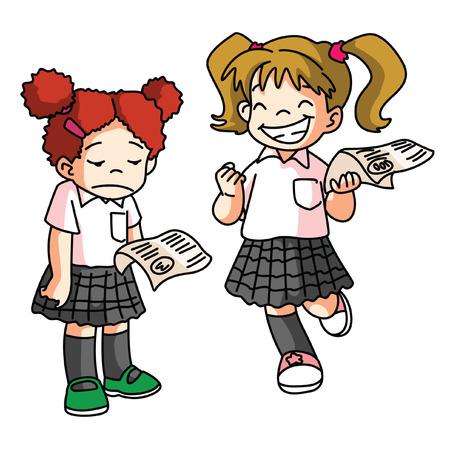 kid School Score Examination 일러스트