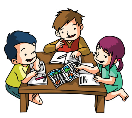 helping people cartoon kids studying together - Cartoon Pictures Of Kids