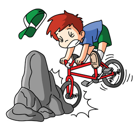 one wheel bike: bicycle accidents Illustration