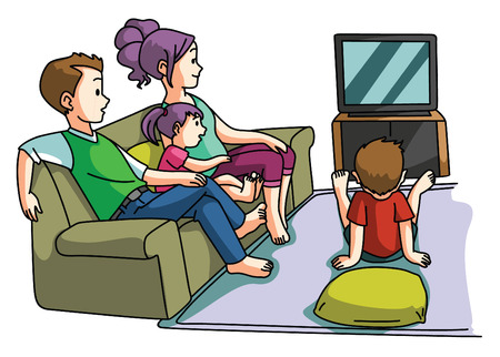 Family watching tv time Vettoriali