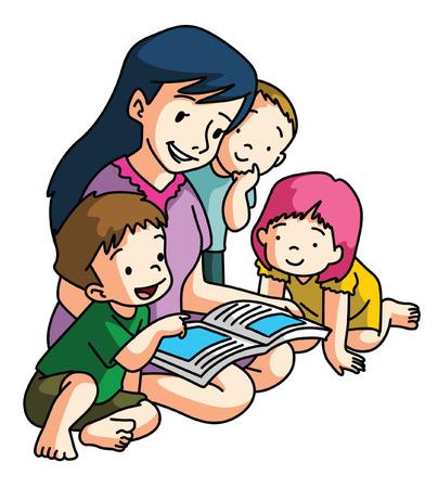 Moeder vertellen verhaal Stock Illustratie