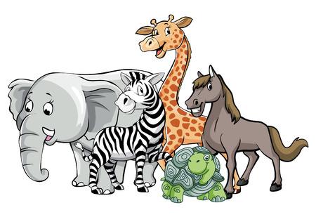 girafe: animals safari group pose Illustration