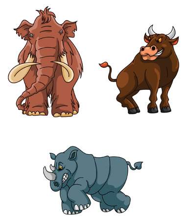 woolly: Angry Animals Group : Mammoth, Rhino and Bull