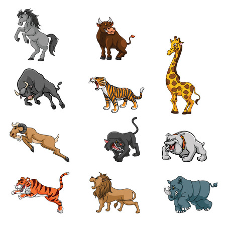 Wild Animals Angry Set Group Vector